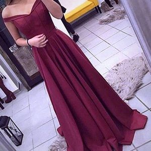 Off the shoulder burgundy prom dress